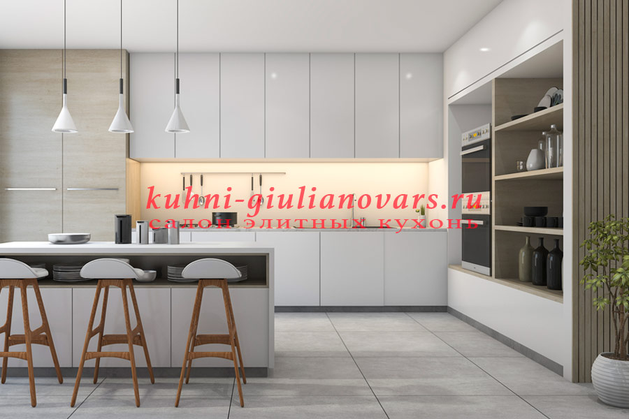 Современная светлая кухня в итальянском стиле
